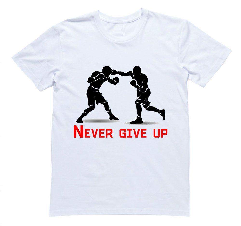 """Футболка с принтом и надписью """"Never give up"""""""