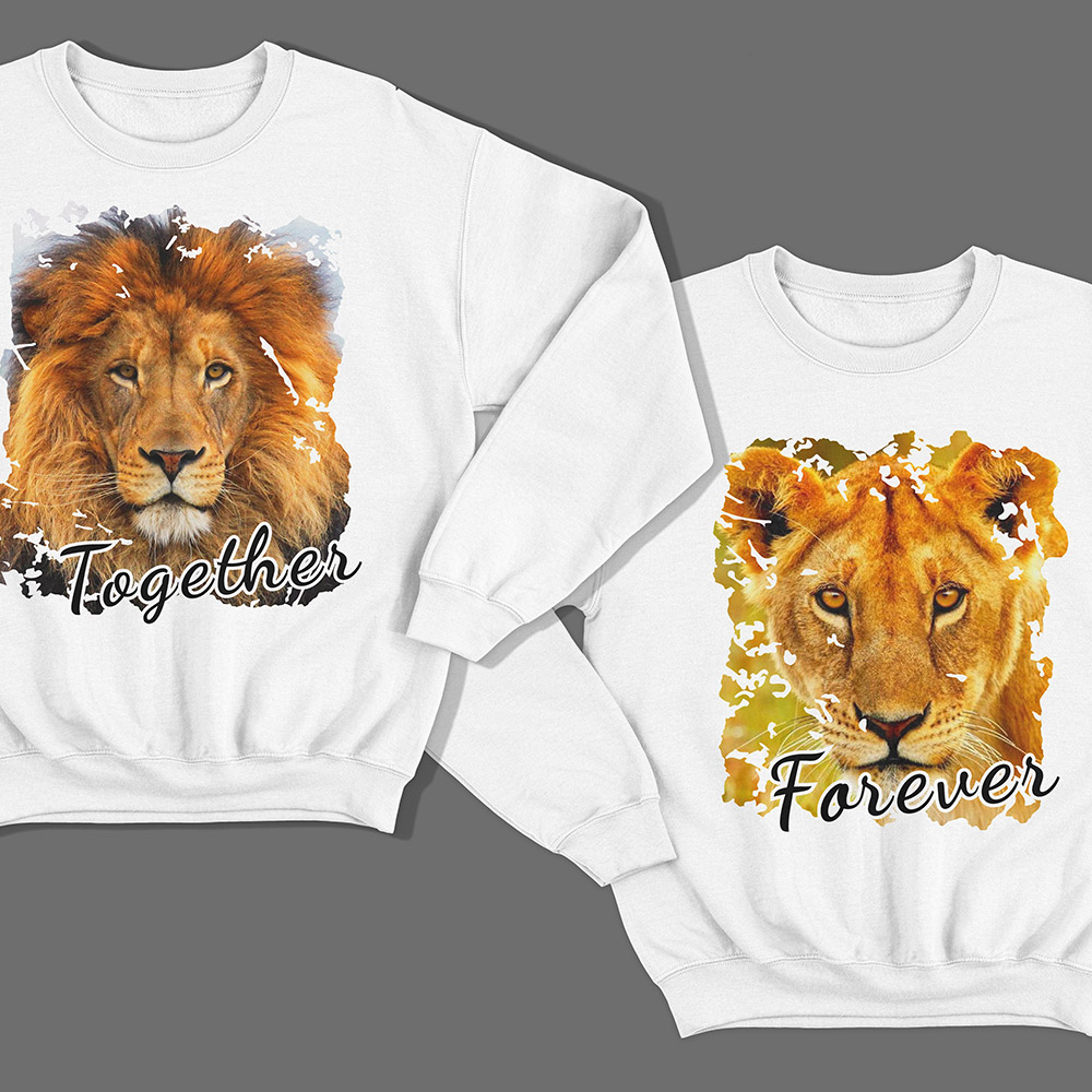 Парные свитшоты для влюбленных со львом и львицей «Together forever»