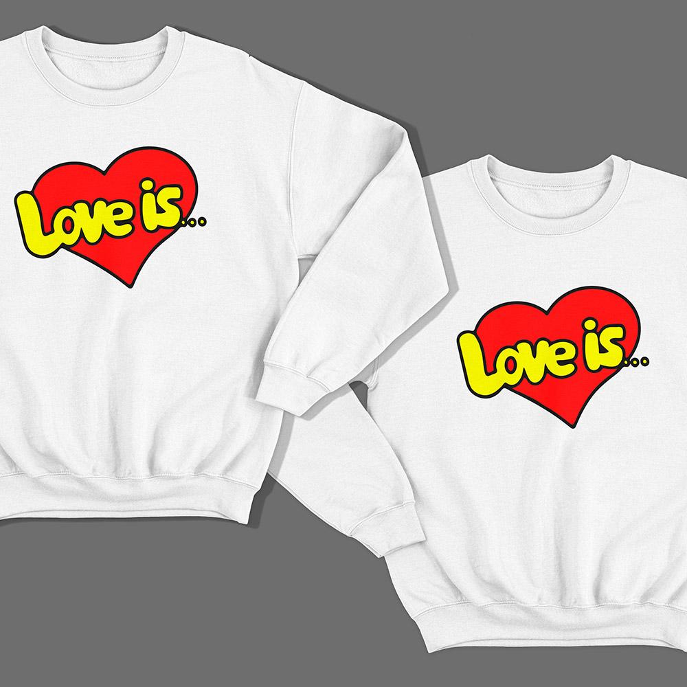 Парные свитшоты для влюбленных «Love is…»