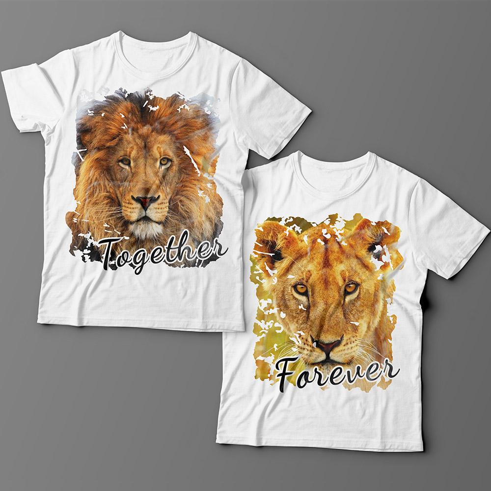 Парные футболки для влюбленных со львом и львицей «Together forever»