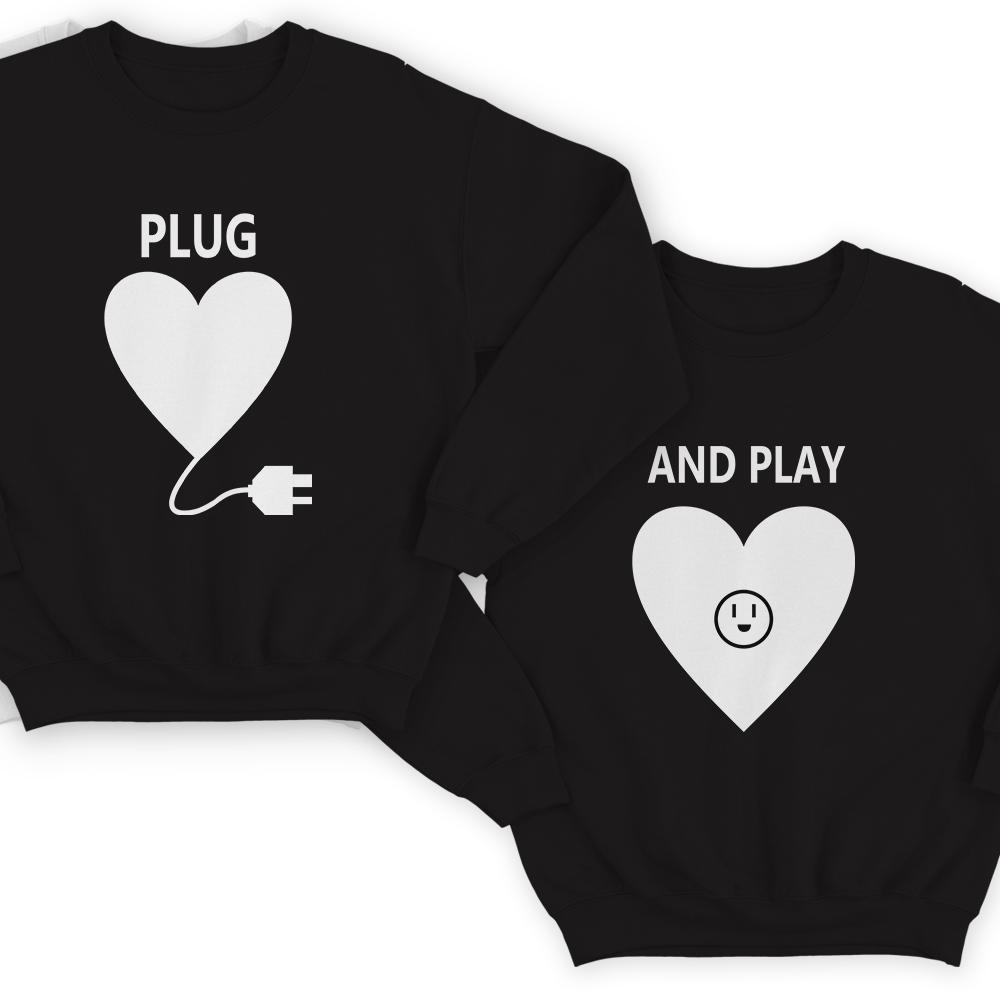 Парные свитшоты для влюбленных «Plug» и «And play»
