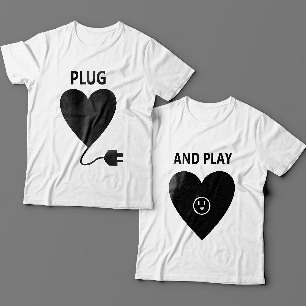 Парные футболки для влюбленных «Plug» и «And play»