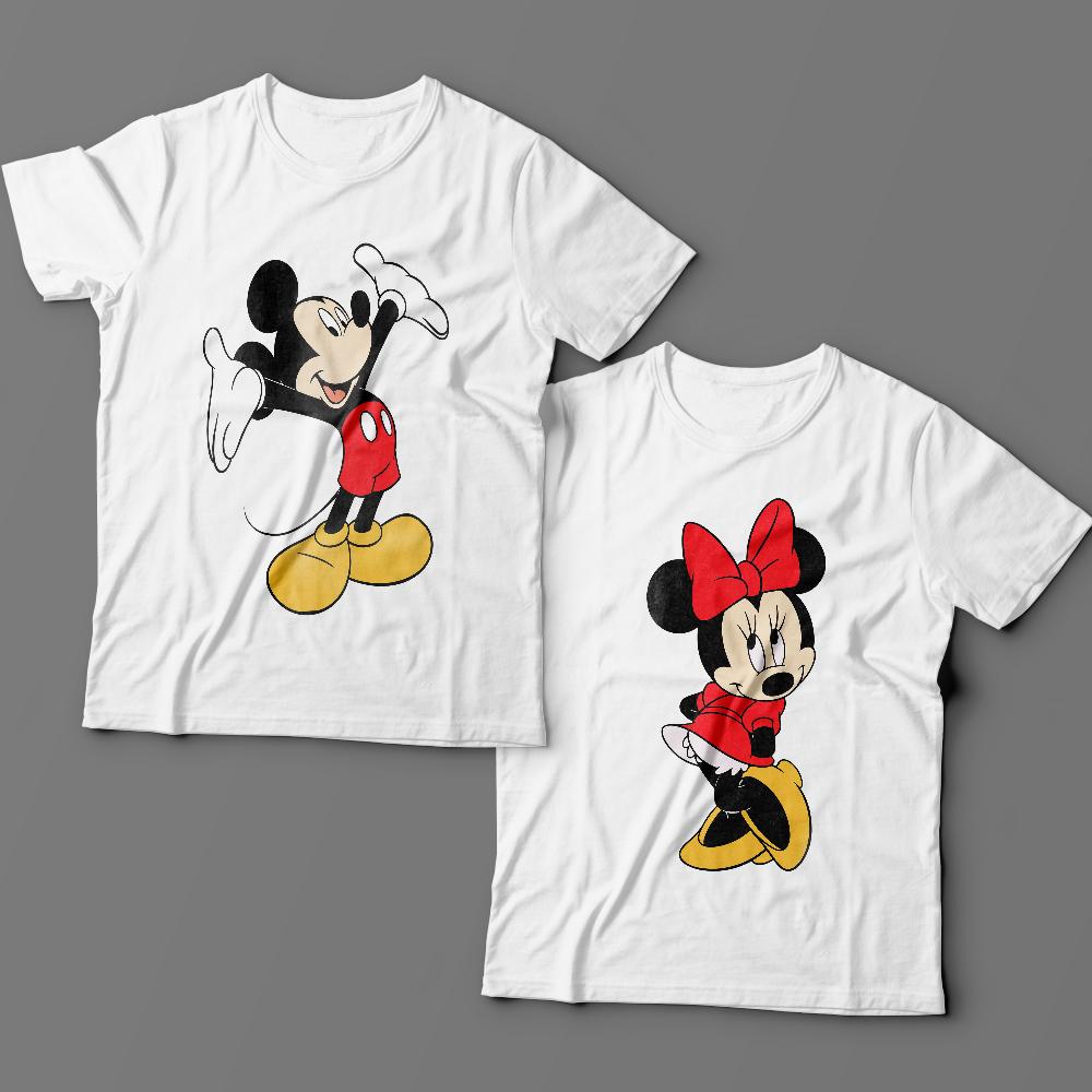Парные футболки для влюбленных с Микки и Мини Маус