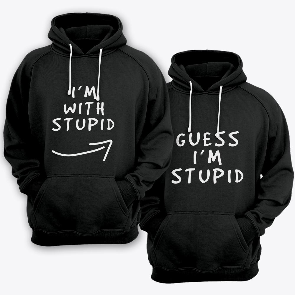 Парные толстовки с капюшоном для влюбленных «I'm with stupid» и «Guess i'm stupid».