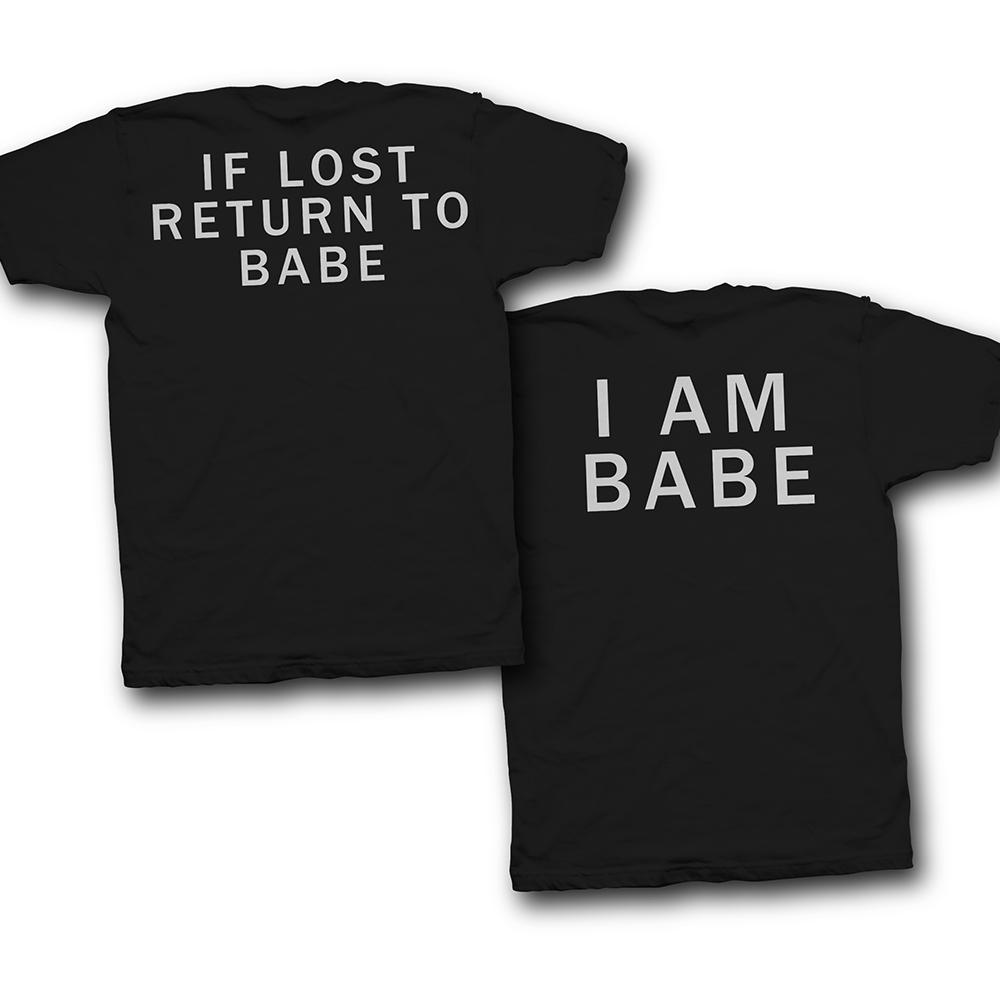 Парные футболки для влюбленных с надписями на спине «If lost return to babe» и «I am babe»