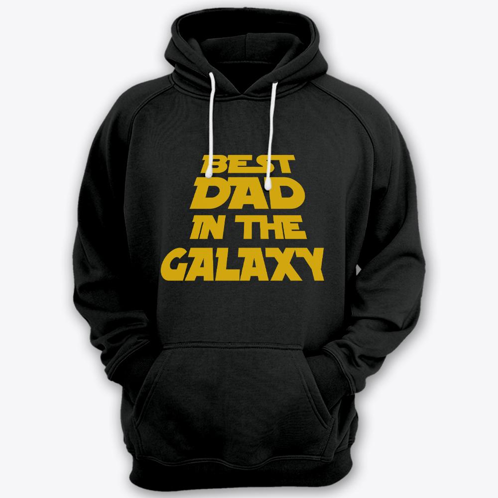 Толстовка с капюшоном с прикольной надписью «Best dad in the galaxy» («Лучший батя в галактике»)