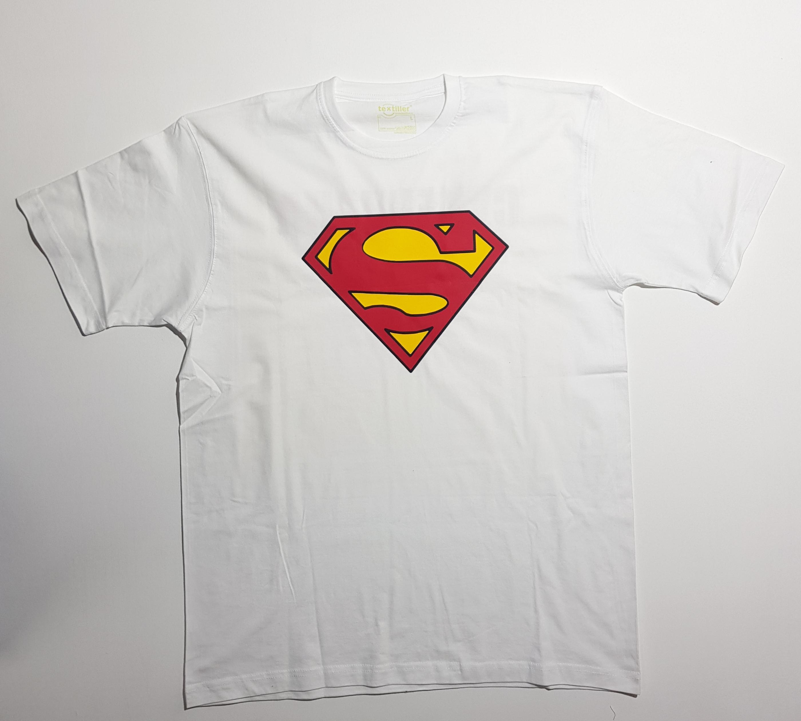 """Белая футболка с надписью """"Супер папа"""" (спереди)"""